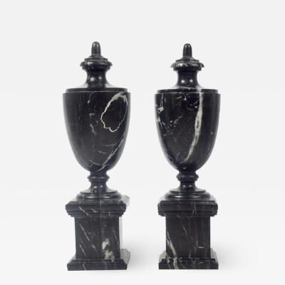 Pair of Classical Black Marble Urns