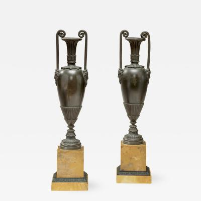 Pair of Classical Bronze Urns on Sienna Marble Bases