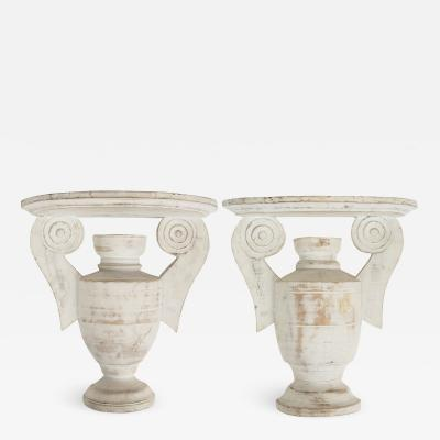 Pair of Classical Urn Form Wooden Sconce Wall Brackets