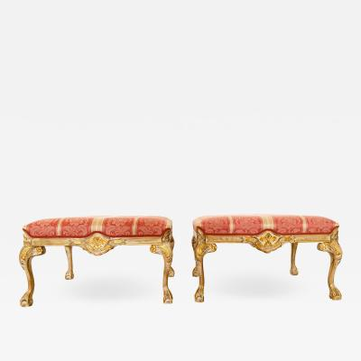 Pair of Claw and Ball Cerused Gilt Benches