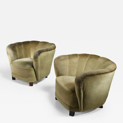 Pair of Club Chairs with Green Velour Upholstery Denmark 1940s