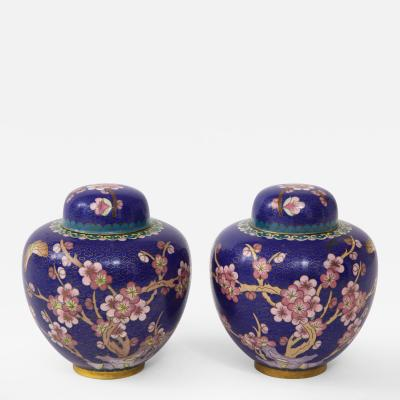 Pair of Cobalt Cloisonne Ginger Jars