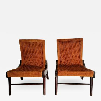 Pair of Cocobolo Rosewood and Hemp Cord 1940s Lounge Chairs Rare