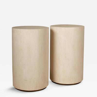 Pair of Columnar Shaped Pedestal Tables Finished in Egyptian Crackle Lacquer