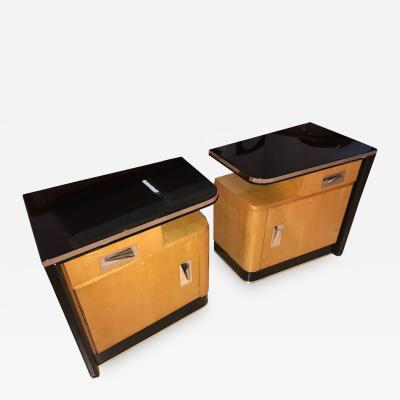 Pair of Conical Art Deco Bedside Tables France circa 1940