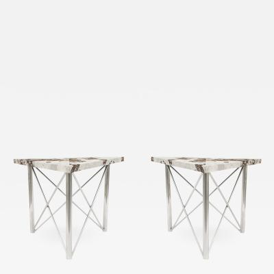 Pair of Contemporary American Tubular Chrome Base Side End Tables
