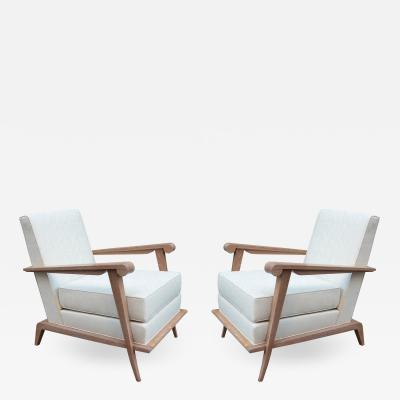 Pair of Contemporary Cerused Oak Armchairs