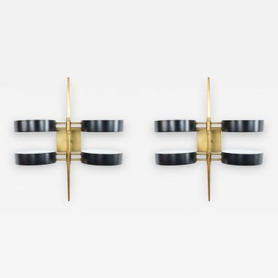 Pair of Contemporary Circular Brass Wall Sconces