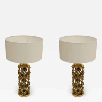 Pair of Contemporary Italian Brass Table Lamps