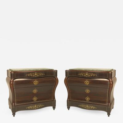 Pair of Continental Spanish Bombe Shaped Commodes