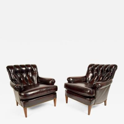 Pair of Continental Style Leather Chairs