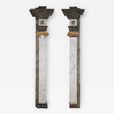 Pair of Continental gesso and wood pilaster columns