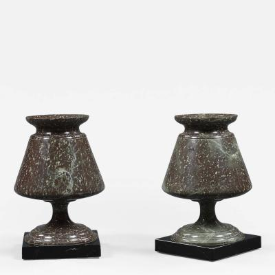 Pair of Cornish Serpentine Stone Urns of Unusual Form