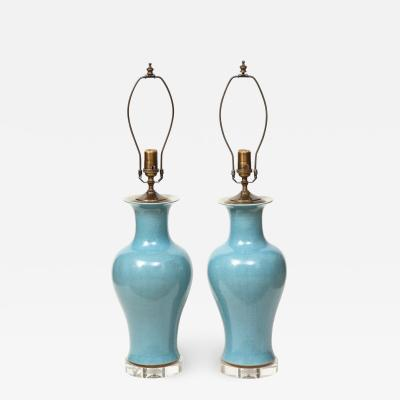 Pair of Crackle Glazed Blue Vase Lamps