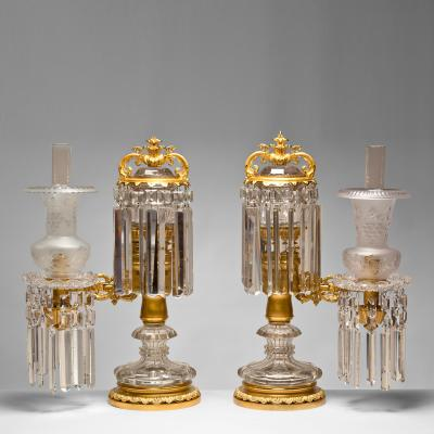 Pair of Crystal and Brass Argand Lamps