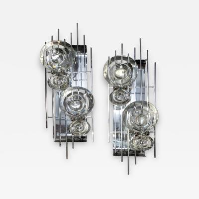 Pair of Crystal and Chrome Sconces