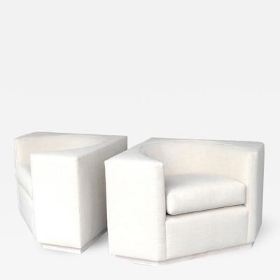 Pair of Cube Geometric Lounge Club Chairs