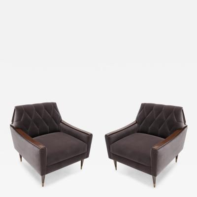 Pair of Custom 1960s Style Armchairs in Grey Velvet with Wood and Brass Details