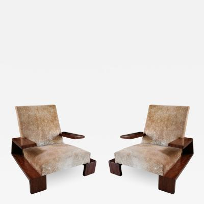 Pair of Custom 1970s Style Cowhide Armchairs
