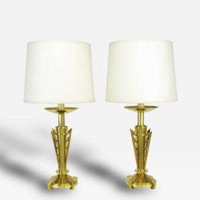 Pair of Custom Art Deco Inspired Brass Table Lamps