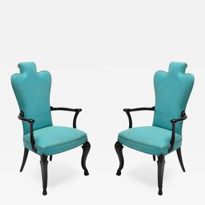 Pair of Custom Black Lacquer Armchairs in Turquoise Leather