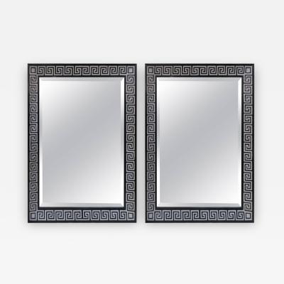 Pair of Custom Mirrors Featuring Hand Decorated Greek Key Pattern Motif