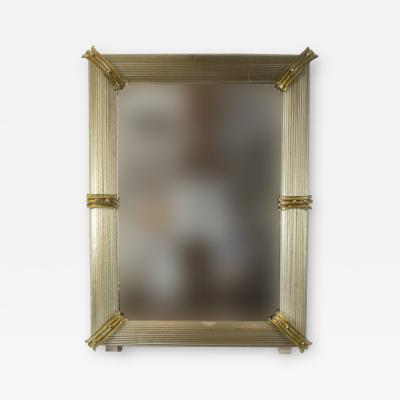Pair of Custom Murano Blown Mirrors in Taupe Contemporary