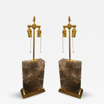 Pair of Custom Sculptural Rock Crystal Lamps on Giltwood Base