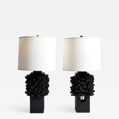 Pair of Custom Table Lamps Made from Reclaimed Teak Wood