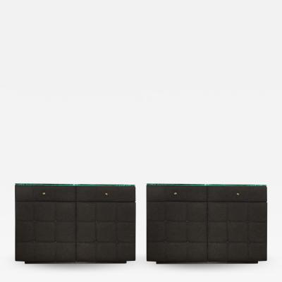 Pair of Custom Tufted Flannel Bedside Cabinets With Glass Tops