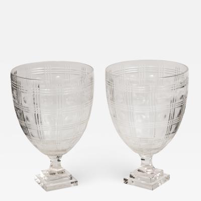 Pair of Cut Crystal Urns