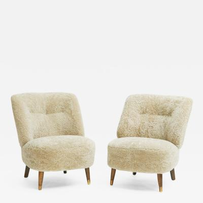 Pair of Danish Design Easy Chairs Upholstered in Lambskin