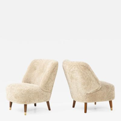 Pair of Danish Design Sheepskin Upholstered Chairs circa 1930s