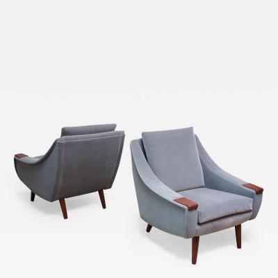 Pair of Danish Modern Teak and Mohair Lounge Chairs
