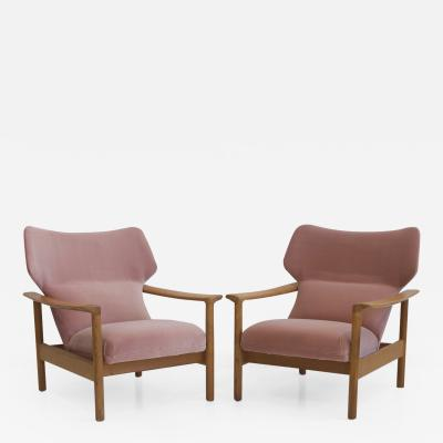 Pair of Danish Pink Velvet Armchairs with Oak Frame