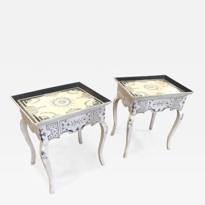 Pair of Danish Roccoco Style Side Tables