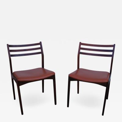 Pair of Danish Rosewood and Leather Side Chairs
