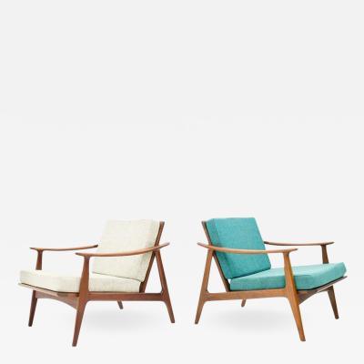 Pair of Danish Teak Wood Easy Chairs 1960s