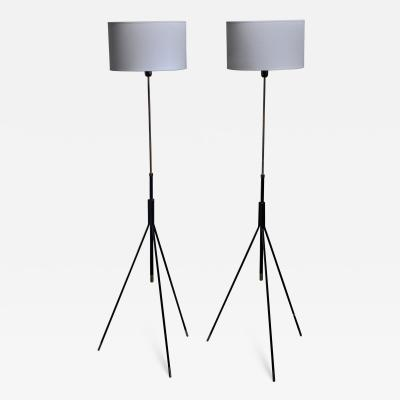 Pair of Danish height adjustable tripod floor lamps