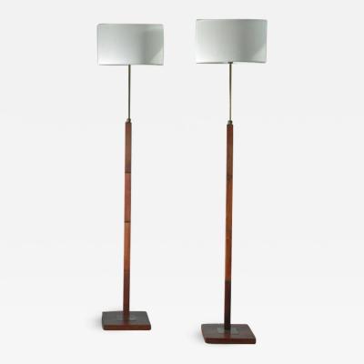 Pair of Danish height adjustable wood and brass floor lamps
