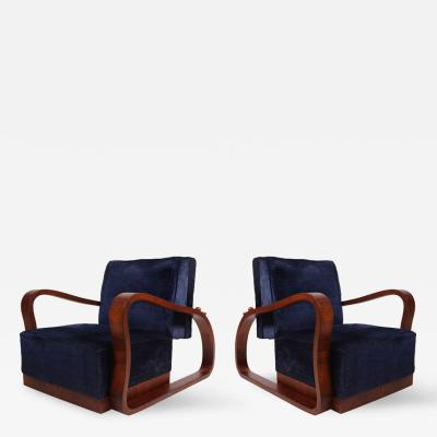 Pair of Dark Blue Velvet Lounge Chairs