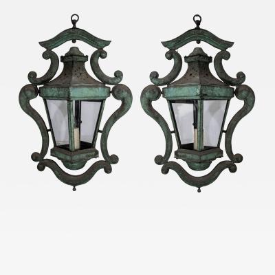 Pair of Decorative Italian Copper Lanterns