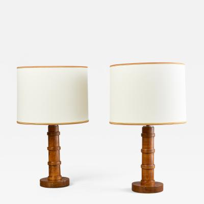 Pair of Decorative Stained Oak Table Lamps France 1950s