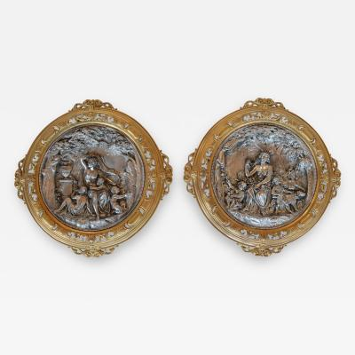 Pair of Deep Relief Figural Metal Wall Plaques Late 19th Century