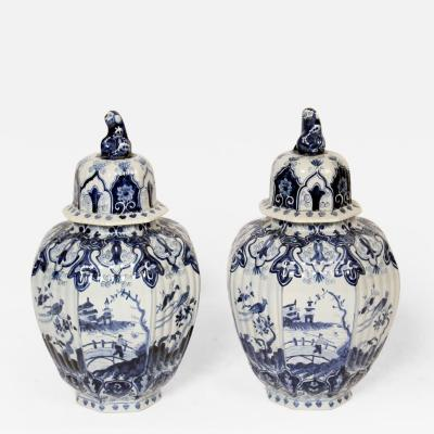 Pair of Delft Blue and White Vases