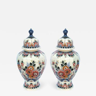 Pair of Delft Hand painted Covered Jars Signed by the artist P Verhoeve