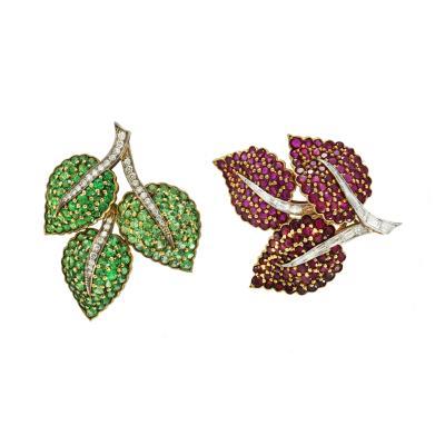 Pair of Diamonds Rubies Tsavorite Garnet Clips