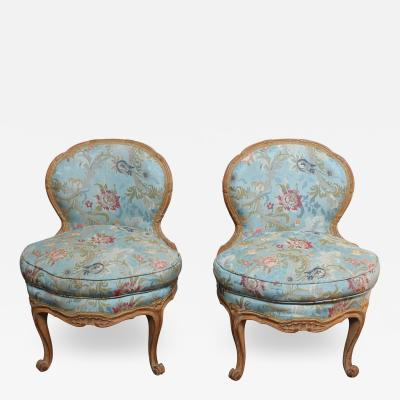 Pair of Diminutive French Louis XV Rococo Boudoir Slipper Chairs