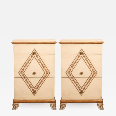 Pair of Directoire Style Painted Bedside Tables