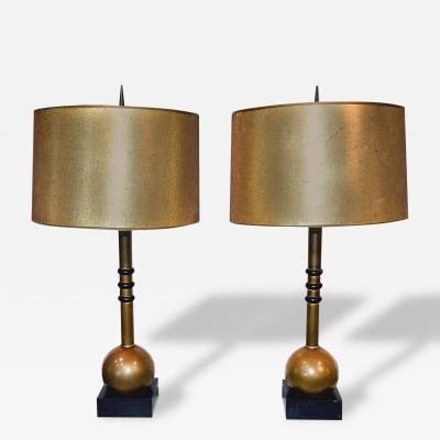 Pair of Dramatic Art Deco Brass Lamps